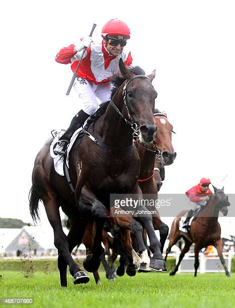 Opie Bosson rides Mongolian Khan to win race 7 The BMW Australian Derby during Sydney Racing at Royal Randwick Racecourse on April 6 2015 in Sydney...