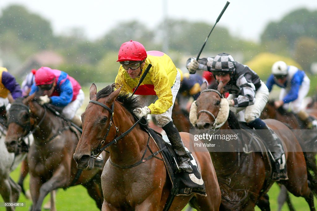 Opie Bosson riding Decorah wins the City of Auckand Cup at Ellerslie Racecourse on January 1 2016 in Auckland New Zealand