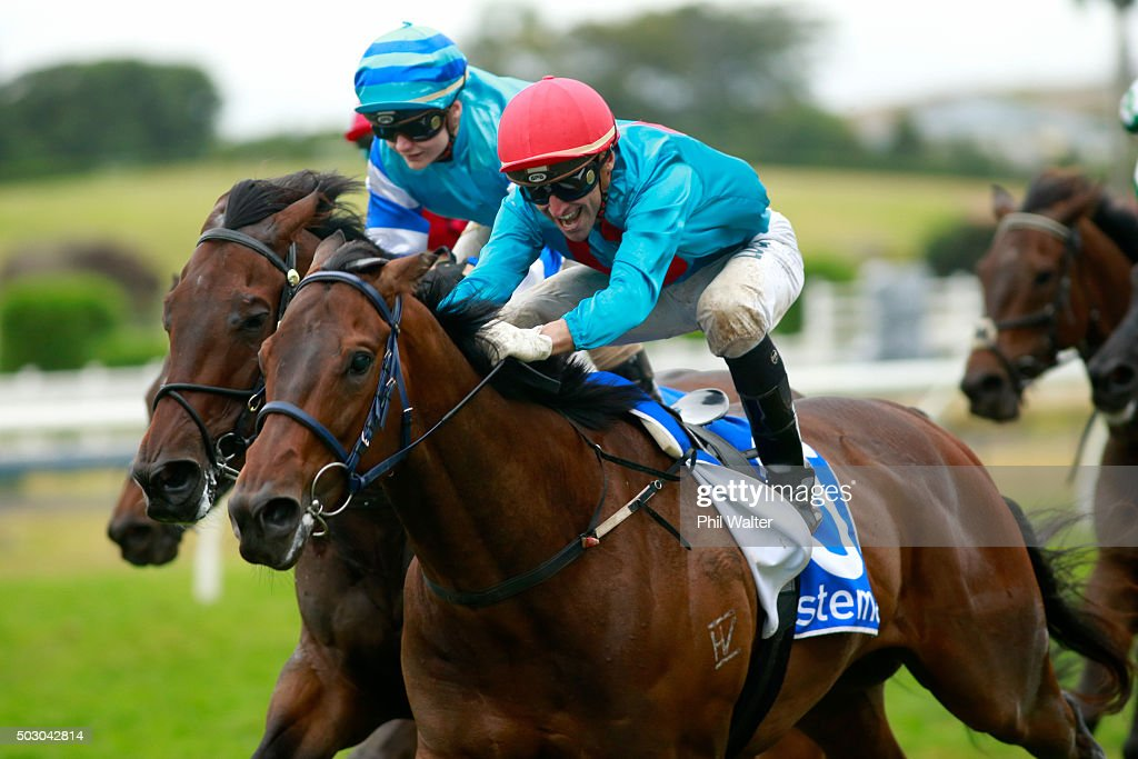 Opie Bosson riding Ryan Mark wins the Railway Stakes at Ellerslie Racecourse on January 1 2016 in Auckland New Zealand