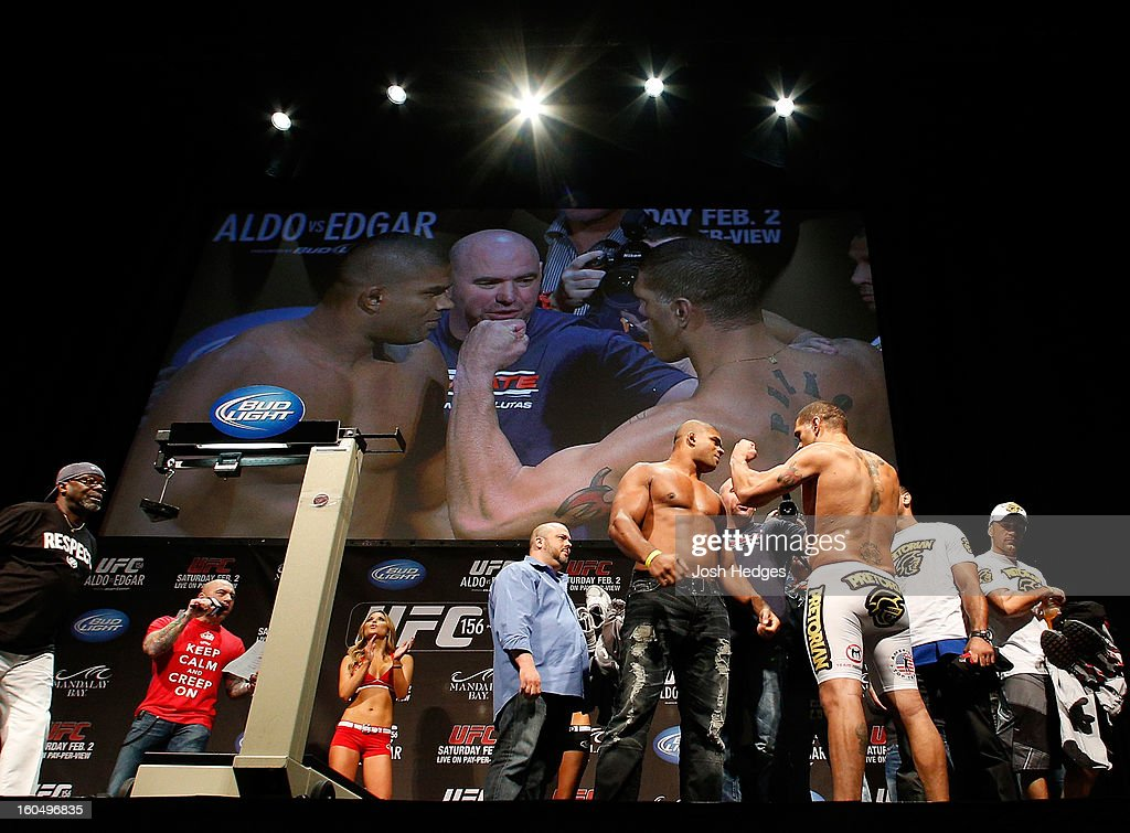 Opponents <a gi-track='captionPersonalityLinkClicked' href=/galleries/search?phrase=Alistair+Overeem&family=editorial&specificpeople=7480034 ng-click='$event.stopPropagation()'>Alistair Overeem</a> and Antonio 'Bigfoot' Silva face off during the UFC 156 weigh-in on February 1, 2013 at Mandalay Bay Events Center in Las Vegas, Nevada.