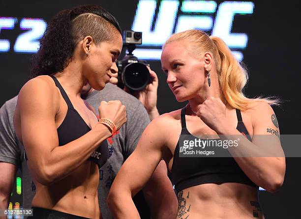 Opponents Amanda Nunes of Brazil and Valentina Shevchenko of Kyrgyzstan face off during the UFC 196 Weighin at the MGM Grand Garden Arena on March 4...