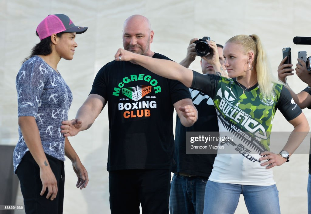 Opponents Amanda Nunes of Brazil and Valentina Shevchenko of Kyrgyzstan face off during the UFC 215 & UFC 216 Title Bout Participants Las Vegas Media Day at the UFC Headquarters on August 24, 2017 in Las Vegas, Nevada.