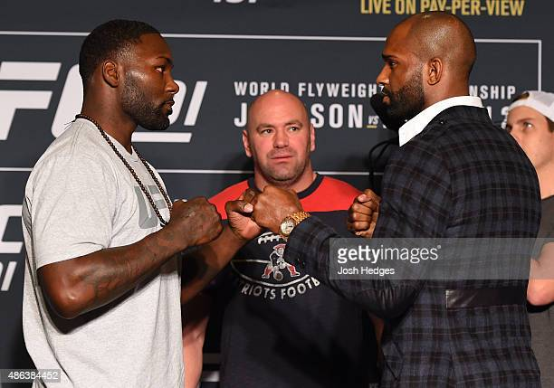 Opponents Anthony Johnson and Jimi Manuwa of England face off during the UFC 191 Ultimate Media Day at MGM Grand Hotel Casino on September 3 2015 in...