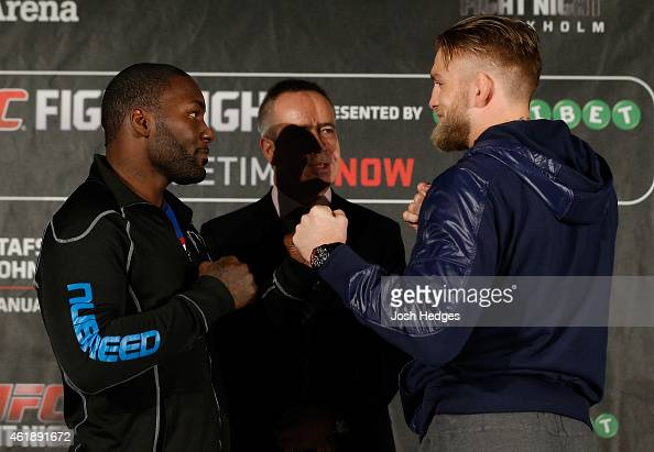 Opponents Anthony Johnson of the United States and Alexander Gustafsson of Sweden face off during the UFC Ultimate Media Day at the Tele2 Arena on...
