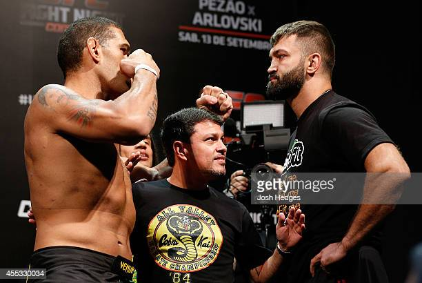 Opponents Antonio 'Bigfoot' Silva of Brazil and Andrei Arlovski of Belarus face off during the UFC Fight Night weighin at the Nilson Nelson Gymnasium...