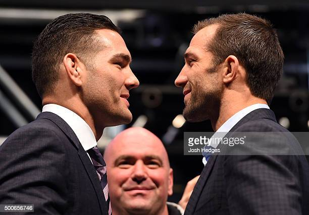 Opponents Chris Weidman and Luke Rockhold face off during the UFC Press Conference inside MGM Grand Garden Arena on December 9 2015 in Las Vegas...