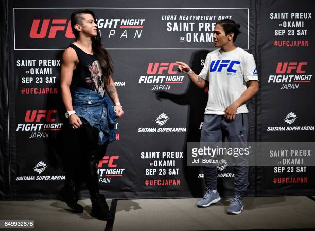 Opponents Claudia Gadelha of Brazil and Jessica Andrade of Brazil interact during the UFC Ultimate Media Day at the Park Hyatt on September 20 2017...