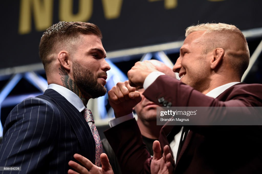 Opponents Cody Garbrandt and TJ Dillashaw face off during the UFC 217 news conference inside T-Mobile Arena on October 6, 2017 in Las Vegas, Nevada.