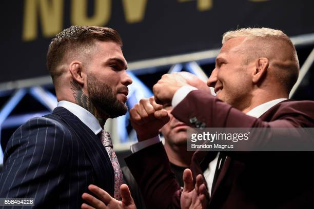 Opponents Cody Garbrandt and TJ Dillashaw face off during the UFC 217 news conference inside TMobile Arena on October 6 2017 in Las Vegas Nevada