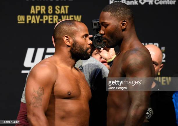 Opponents Daniel Cormier and Anthony Johnson face off during the UFC 210 weighin at the KeyBank Center on April 7 2017 in Buffalo New York