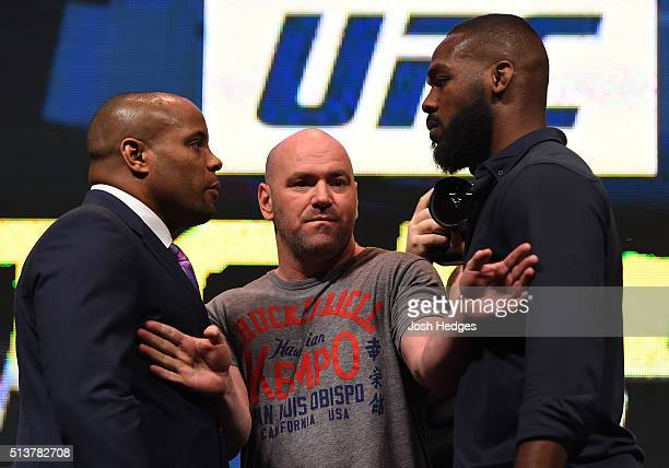 Opponents Daniel Cormier and Jon Jones face off during the UFC Unstoppable launch press conference at the MGM Grand Garden Arena on March 4 2016 in...
