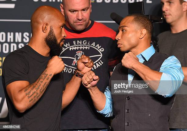 Opponents Demetrious Johnson and John Dodson face off during the UFC 191 Ultimate Media Day at MGM Grand Hotel Casino on September 3 2015 in Las...
