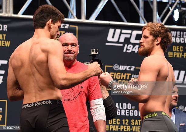 Opponents Demian Maia of Brazil and Gunnar Nelson of Iceland face off during the UFC 194 weighin inside MGM Grand Garden Arena on December 10 2015 in...