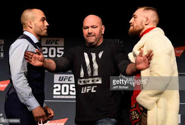 Opponents Eddie Alvarez and Conor McGregor of Ireland face off during the UFC 205 press conference inside The Theater at Madison Square Garden on...