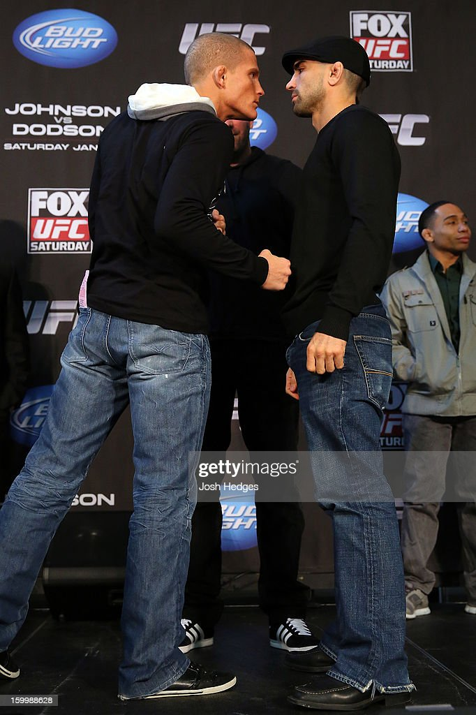 Opponents Erik Koch and Ricardo Lamas face off during the UFC on FOX press conference on January 24, 2013 at the United Center in Chicago, Illinois.