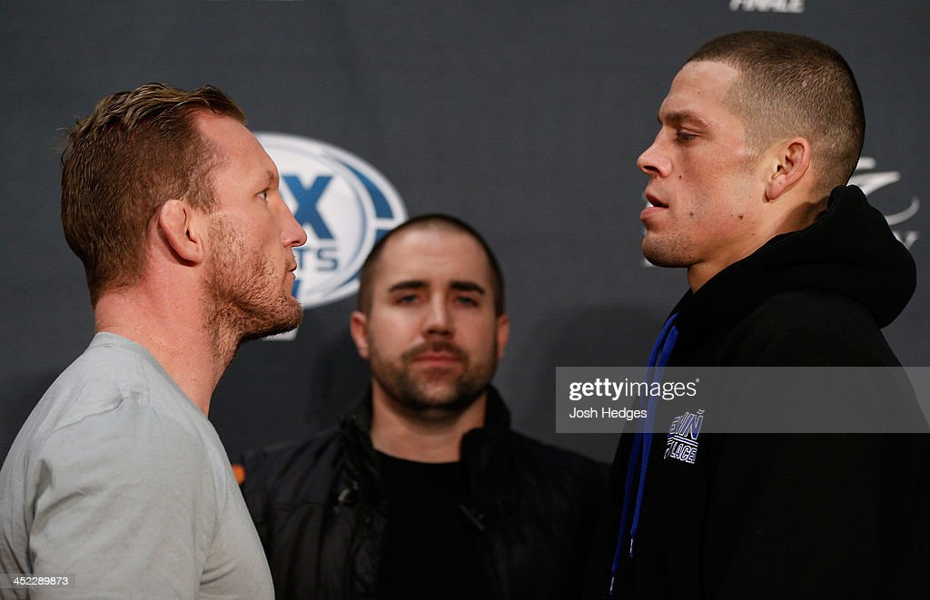 Opponents Gray Maynard and Nate Diaz face off during media day ahead of The Ultimate Fighter season 18 live finale inside the Mandalay Bay Events Center on November 27, 2013 in Las Vegas, Nevada.