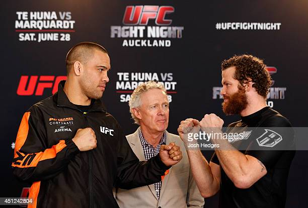 Opponents James Te Huna and Nate Marquardt face off during the UFC Ultimate Media Day at The Cloud at Queen's Wharf on June 26 2014 in Auckland New...