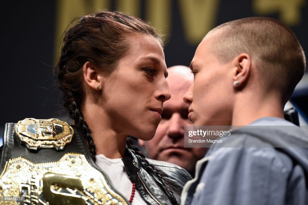 Opponents Joanna Jedrzejczyk and Rose Namajunas face off during the UFC 217 news conference inside T-Mobile Arena on October 6, 2017 in Las Vegas, Nevada.