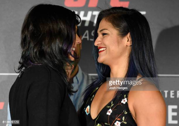 Opponents Joanne Calderwood of Scotland and Cynthia Calvillo face off during the UFC Ultimate Media Day at the Crowne Plaza Glasgow on July 13 2017...