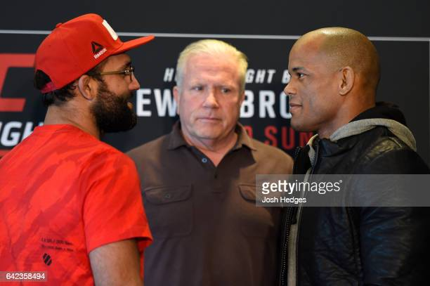 Opponents Johny Hendricks and Hector Lombard of Cuba face off during the UFC Ultimate Media Day at the Halifax Marriott Harbourfront on February 17...