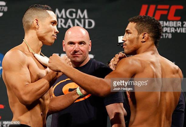 Opponents Jon Tuck of Guam and Kevin Lee face off during the UFC 178 weighin at the MGM Grand Conference Center on September 26 2014 in Las Vegas...