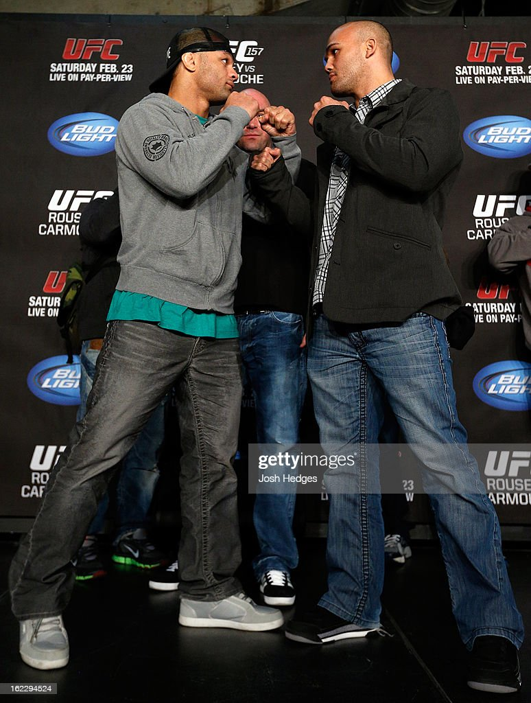 Opponents <a gi-track='captionPersonalityLinkClicked' href=/galleries/search?phrase=Josh+Koscheck&family=editorial&specificpeople=3483284 ng-click='$event.stopPropagation()'>Josh Koscheck</a> and Robbie Lawler face off during a UFC pre-fight press conference at Honda Center on February 21, 2013 in Anaheim, California.