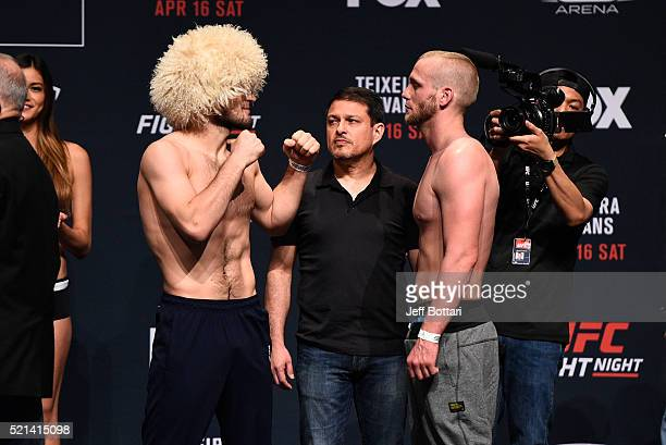 Opponents Khabib Nurmagomedov of Russia and Darrell Horcher face off during the UFC Fight Night weighin at Ruth Eckerd Hall on April 15 2016 in...