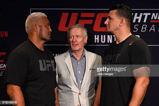 Opponents Mark Hunt of New Zealand and Frank Mir face off during the UFC Ultimate Media Day at the Brisbane Marriott Hotel on March 18 2016 in...