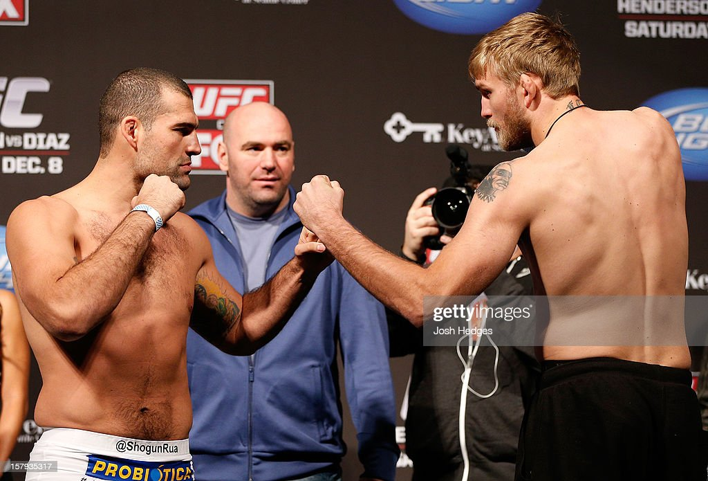 Opponents Mauricio 'Shogun' Rua and Alexander Gustafsson face off during the official UFC on FOX weigh in on December 7, 2012 at Key Arena in Seattle, Washington.