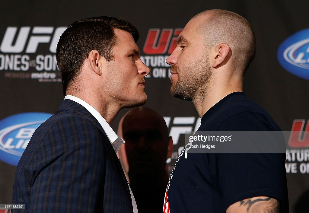 Opponents Michael Bisping and Alan Belcher face off during UFC 159 media day at The Theater at Madison Square Garden on April 25, 2013 in New York City.