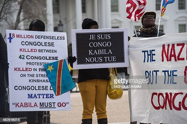 Opponents of Democratic Republic of Congo President Joseph Kabila demonstrate in front of the White House in Washington DC on February 7 2015 The...