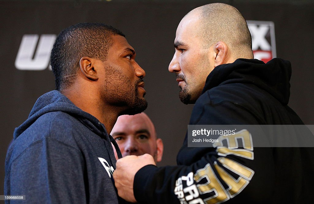 Opponents Quinton 'Rampage' Jackson and Glover Teixeira face off during the UFC on FOX press conference on January 24, 2013 at the United Center in Chicago, Illinois.