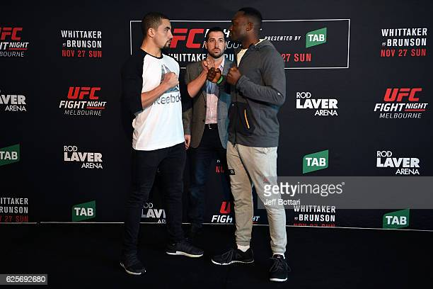 Opponents Robert Whittaker of New Zealand and Derek Brunson of the United States face off during the UFC Fight Night Ultimate Media Day at the...