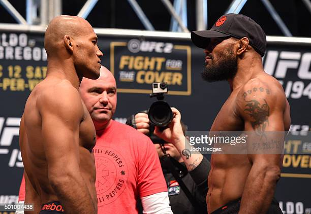 Opponents Ronaldo 'Jacare' Souza of Brazil and Yoel Romero of Cuba face off during the UFC 194 weighin inside MGM Grand Garden Arena on December 10...