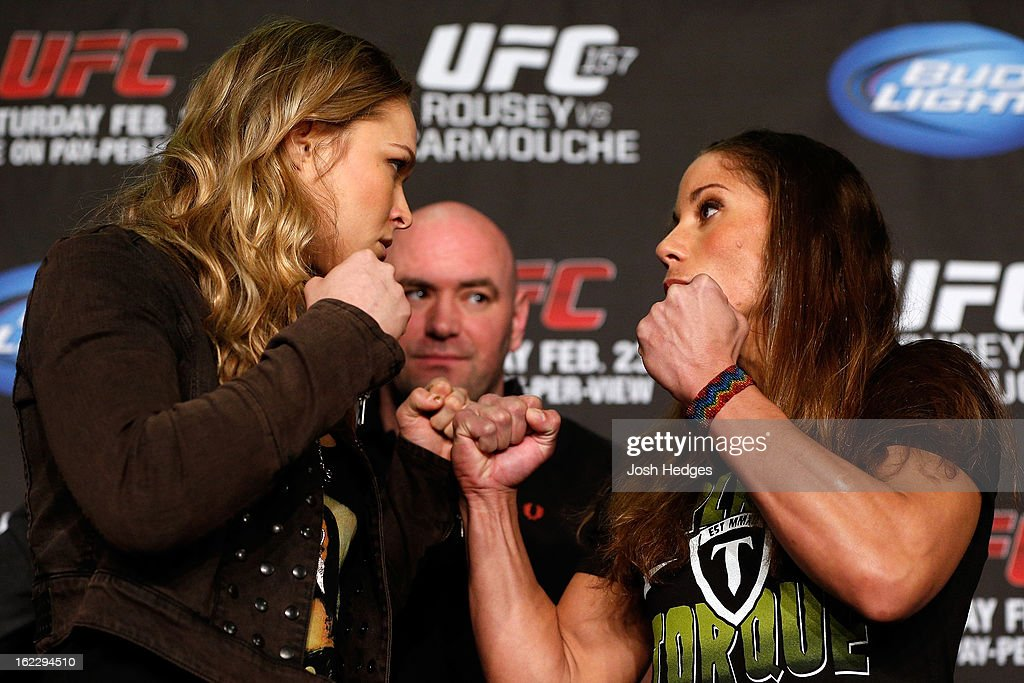 Opponents <a gi-track='captionPersonalityLinkClicked' href=/galleries/search?phrase=Ronda+Rousey&family=editorial&specificpeople=3009906 ng-click='$event.stopPropagation()'>Ronda Rousey</a> and Liz Carmouche face off during a UFC pre-fight press conference at Honda Center on February 21, 2013 in Anaheim, California.