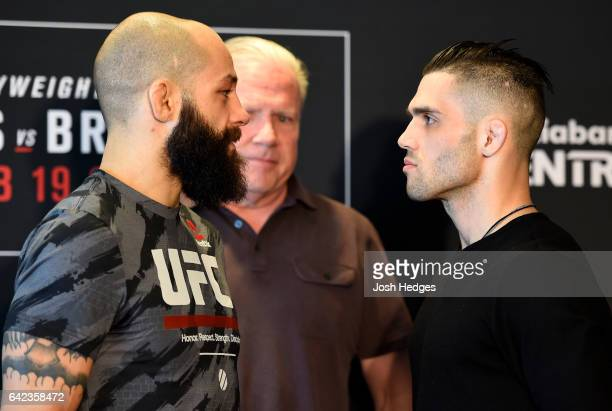 Opponents Sam Sicilia and Gavin Tucker of Canada face off during the UFC Ultimate Media Day at the Halifax Marriott Harbourfront on February 17 2017...