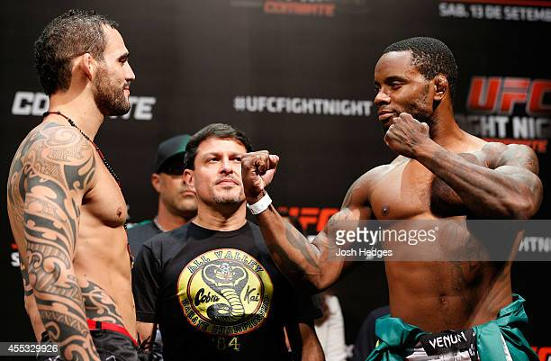 Opponents Santiago Ponzinibbio of Argentina and Wendell Oliveira of Brazil face off during the UFC Fight Night weighin at the Nilson Nelson Gymnasium...