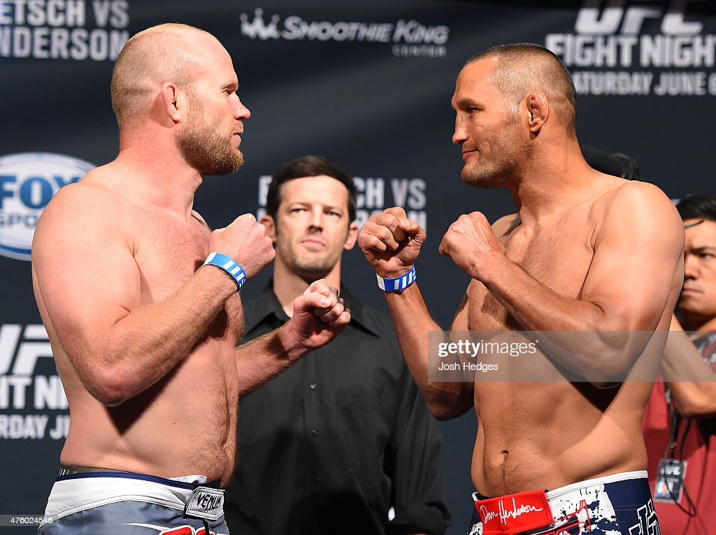 Opponents Tim Boetsch and Dan Henderson face off during the UFC weighin at the Smoothie King Center on June 5 2015 in New Orleans Louisiana