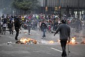 Opponents to the government of Venezuelan President Nicolas Maduro protest in Caracas on February 12 2015 Opposition students marched Thursday in...