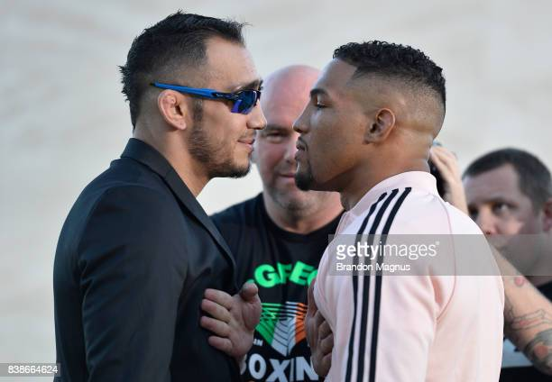 Opponents Tony Ferguson and Kevin Lee face off during the UFC 215 UFC 216 Title Bout Participants Las Vegas Media Day at the UFC Headquarters on...