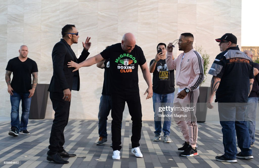 Opponents Tony Ferguson and Kevin Lee face off during the UFC 215 & UFC 216 Title Bout Participants Las Vegas Media Day at the UFC Headquarters on August 24, 2017 in Las Vegas, Nevada.