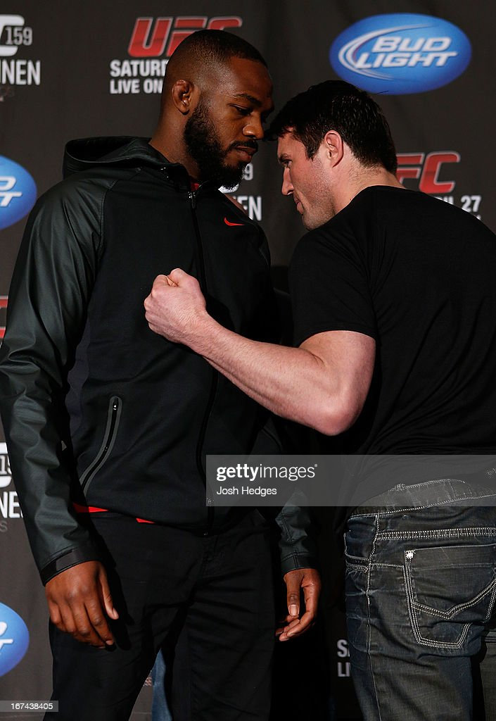 Opponents UFC Light Heavyweight Champion Jon 'Bones' Jones and Chael Sonnen face off during UFC 159 media day at The Theater at Madison Square Garden on April 25, 2013 in New York City.