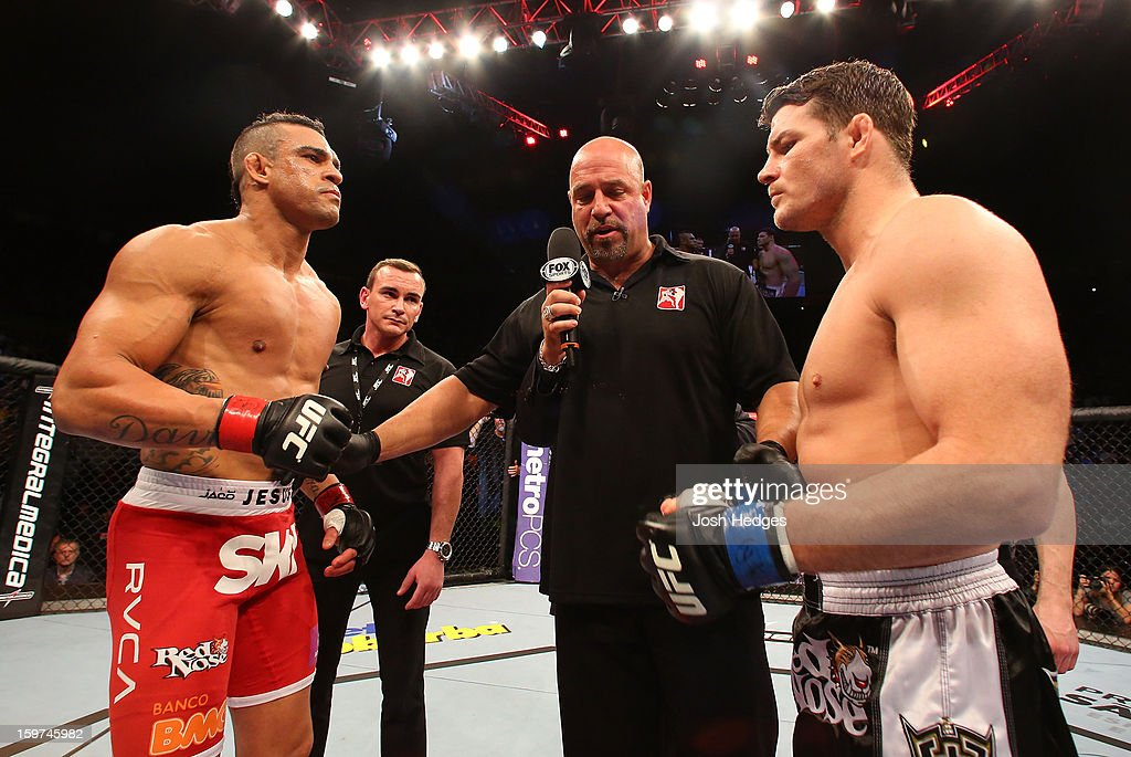 Opponents Vitor Belfort and Michael Bisping face off before in their middleweight fight at the UFC on FX event on January 19, 2013 at Ibirapuera Gymnasium in Sao Paulo, Brazil.