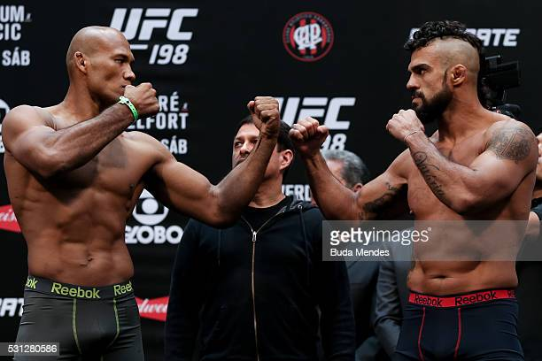Opponents Vitor Belfort of Brazil and Ronaldo Jacare Souza of Brazil face off during the UFC 198 weighin at Arena da Baixada stadium on May 13 2016...