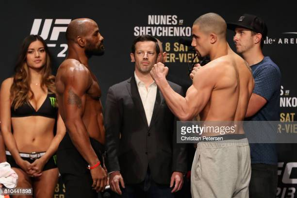Opponents Yoel Romero of Cuba and Robert Whittaker of New Zealand face off during the UFC weighin at the Park Theater on July 7 2017 in Las Vegas...