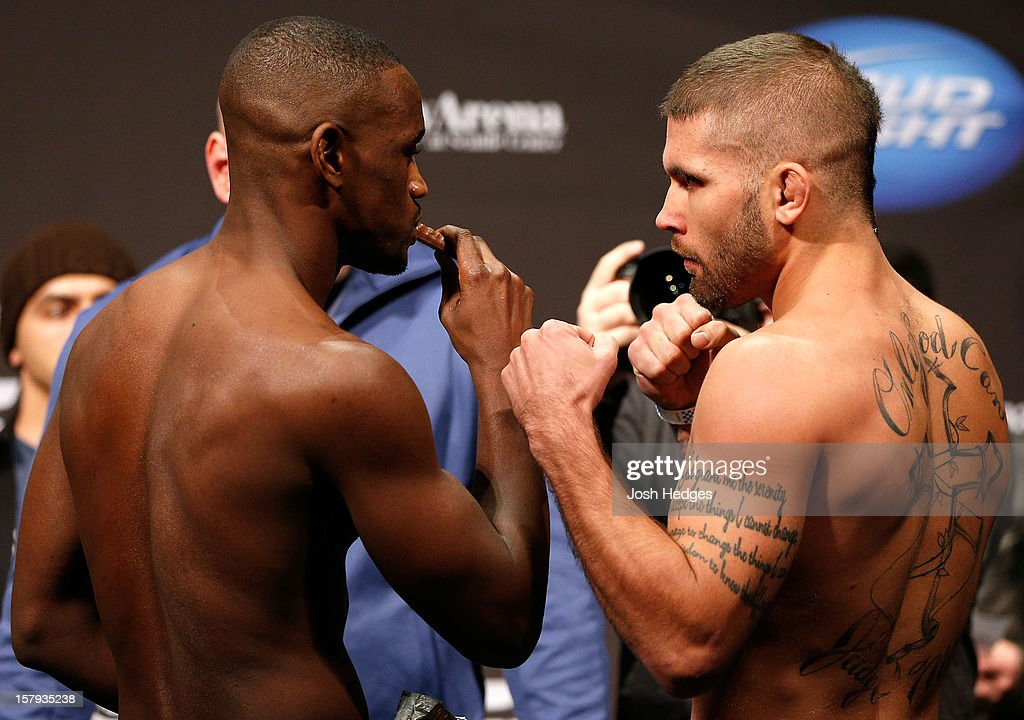 Opponents Yves Edwards and Jeremy Stephens face off during the official UFC on FOX weigh in on December 7, 2012 at Key Arena in Seattle, Washington.