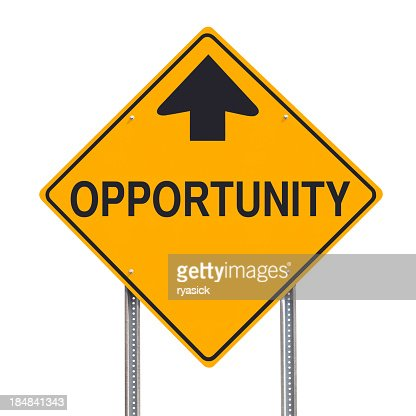 Opportunity Ahead Road Sign Post Isolated Clipping Path