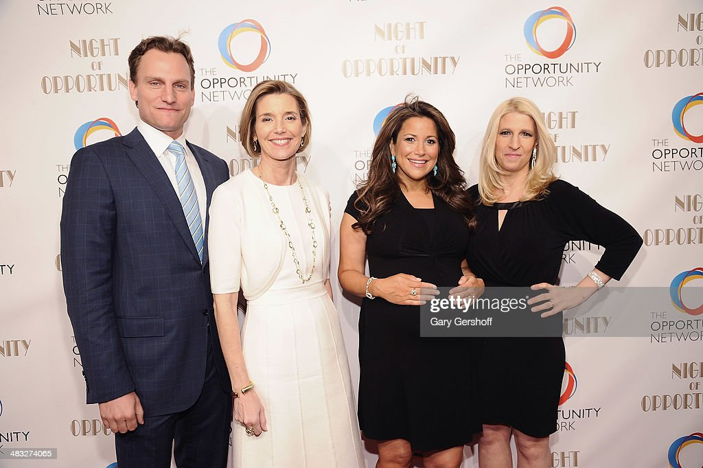 Opportunity Network Board Chair Jason Wright, event honoree Sallie Krawcheck, board member Gigi Stone and Opportunity Network Founder/Executive Director Jessica Pliska attend the 7th annual Night of Opportunity Gala at Cipriani Wall Street on April 7, 2014 in New York City.
