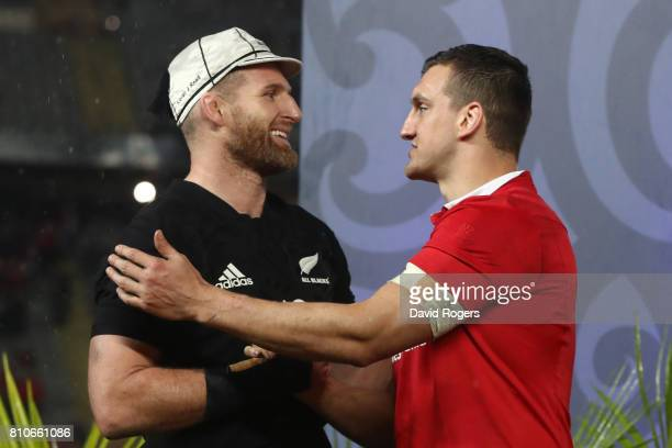 Opposing captains Kieran Read of the All Blacks and Sam Warburton of the Lions shake hands following a drawn series during the third test match...