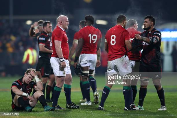 Opposing No8's Toby Faletau of the Lions and Jordan Taufua of the Crusaders hug following the Lions 123 victory during the 2017 British Irish Lions...
